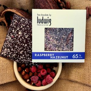 Raspberry hazelnut chocolate square